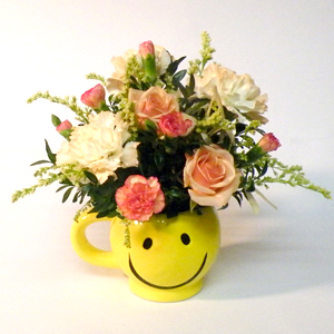Smiley Mug Flower Arrangement