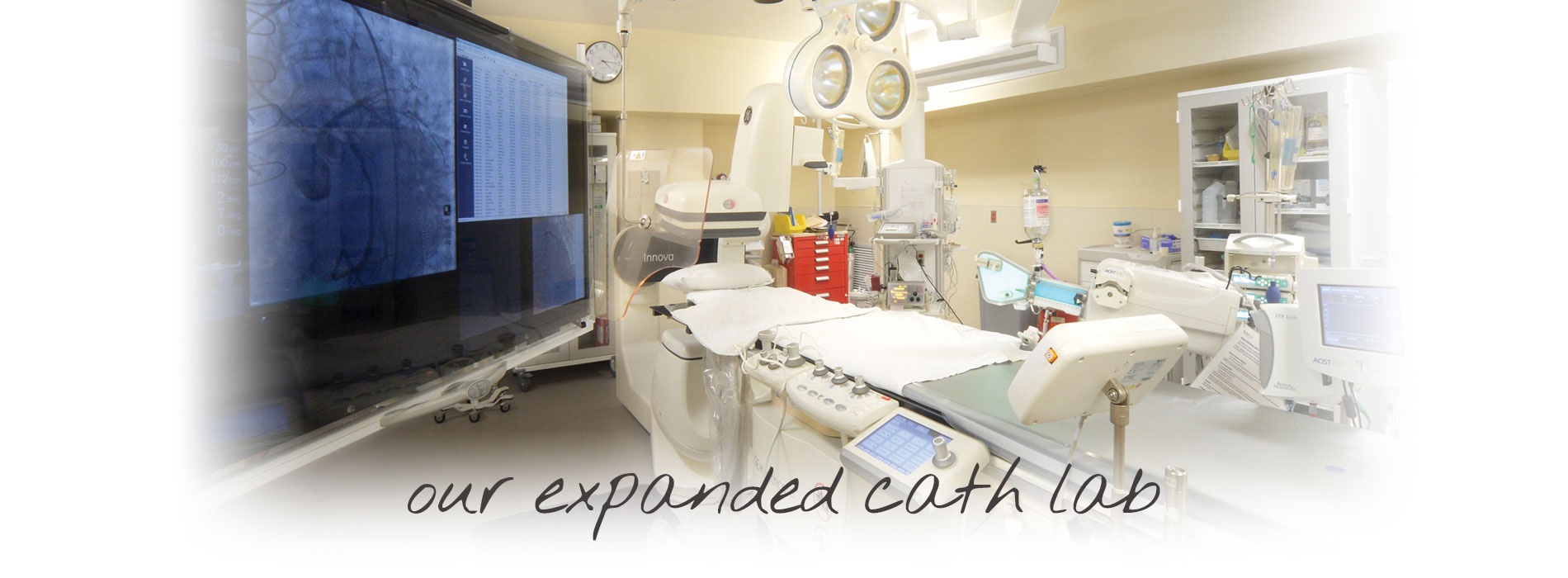 Saratoga Hospital Cardiovascular & Interventional Suite with big computer screen and hospital table