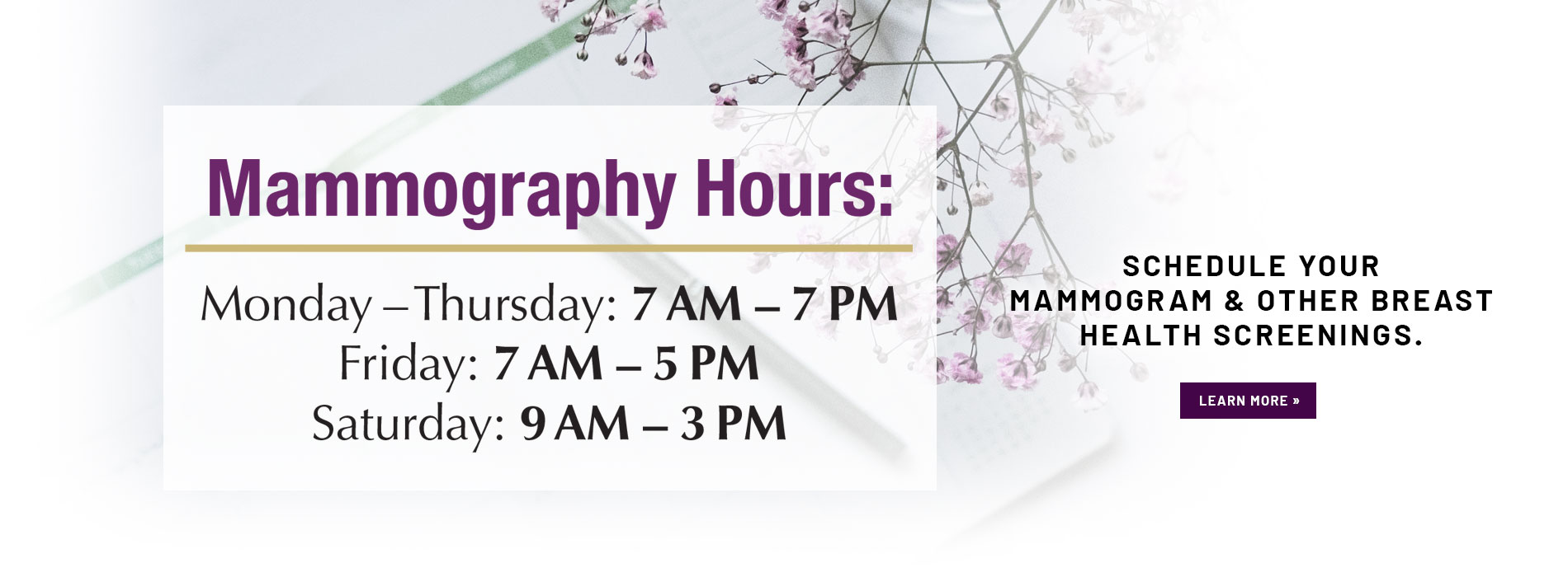 mammography hours