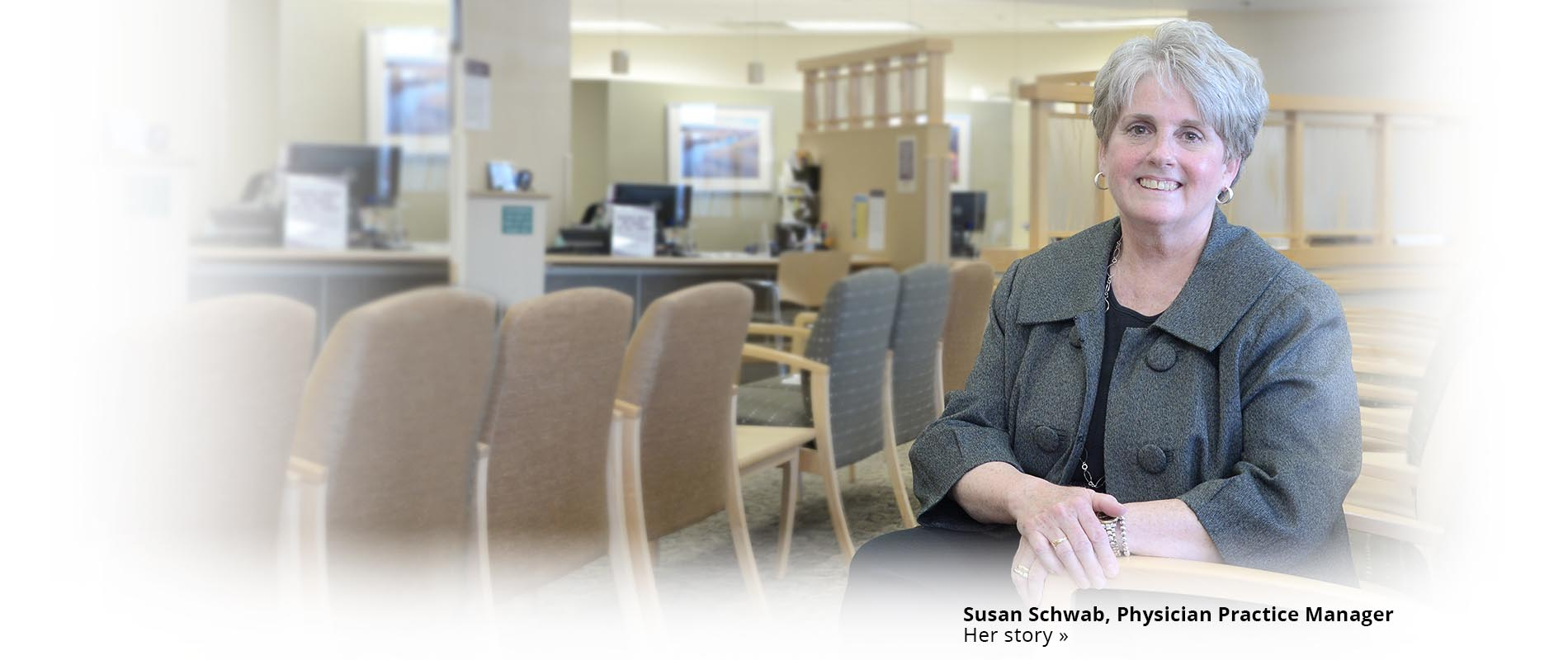 Susan Schwab, Physician Practice Manager, sitting in the practice waiting room