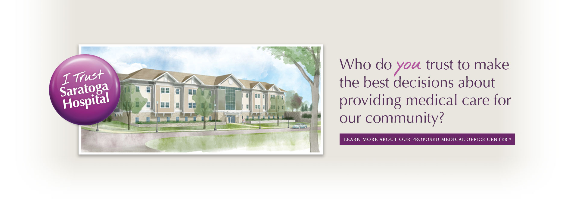 building rendering with I trust Saratoga Hospital button