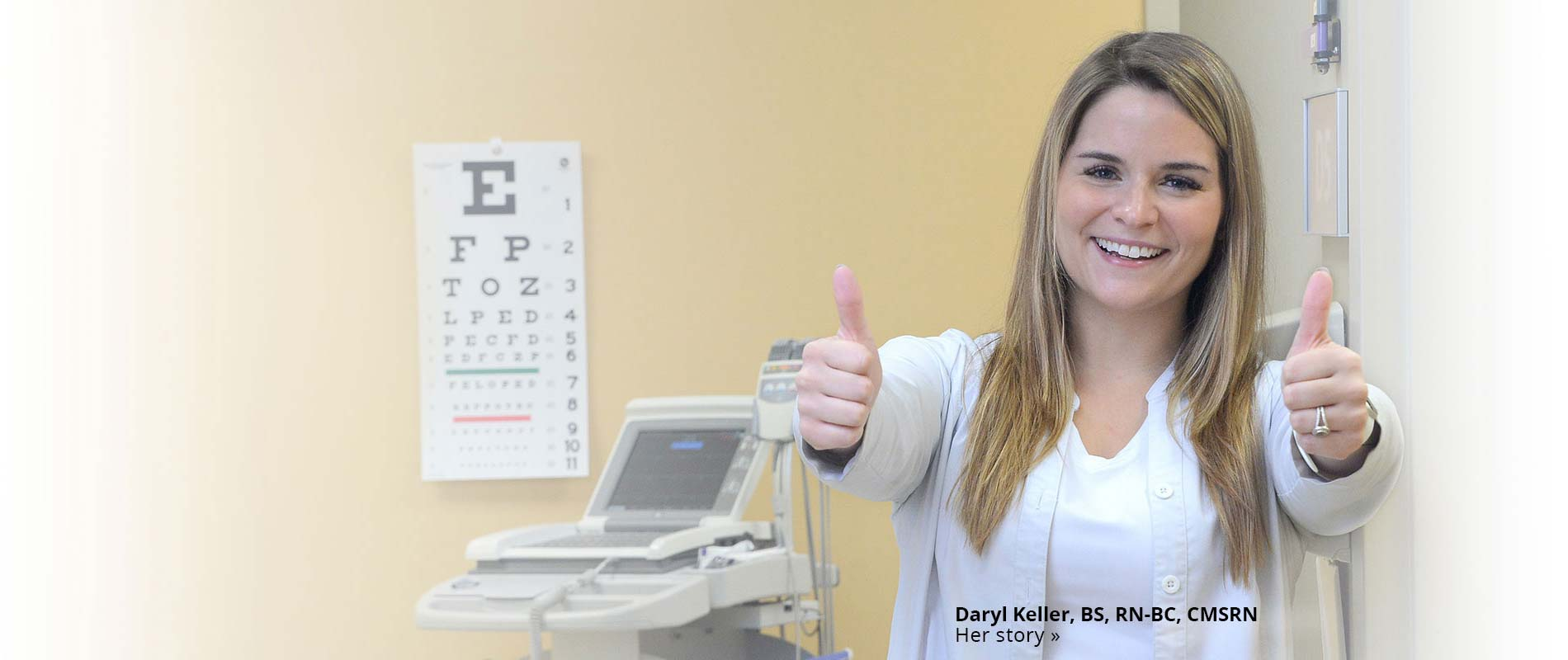 Daryl Keller RN in eye testing room